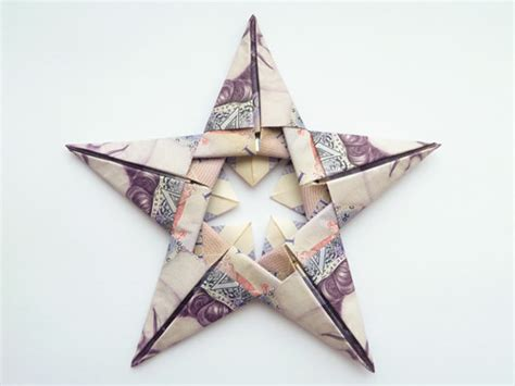 5 Pound Note Origami - modular money origami from 5 bills how to fold step