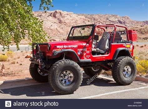 jeep utah modified red jeep in moab utah united states of america