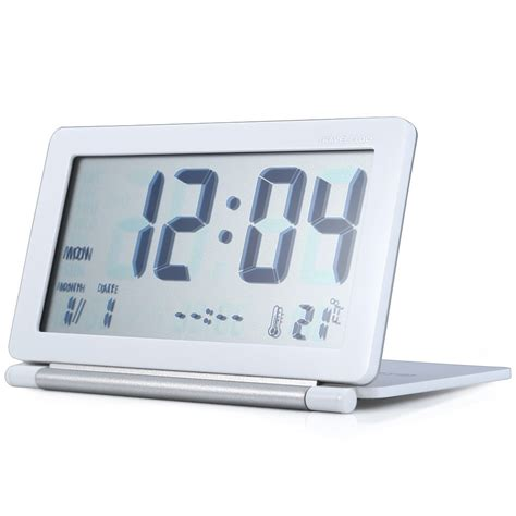 Desk Top Timer by Portable Travel Alarm Clock Lcd Display Time Calendar