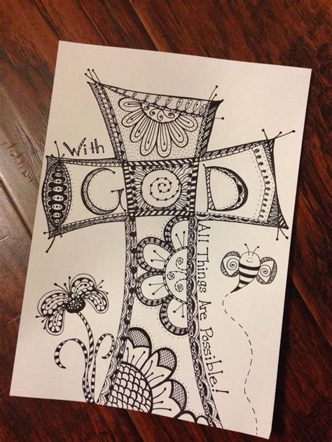 doodle god druid cross zentangle quot faith quot