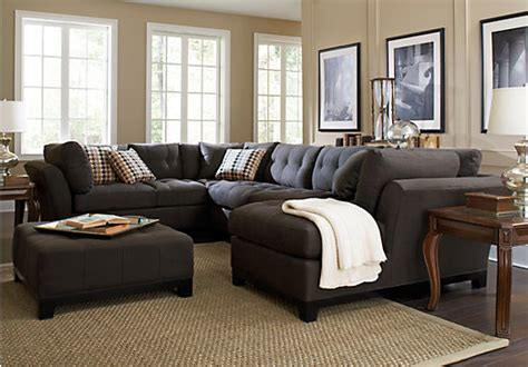 rooms to go living room sectionals cindy crawford metropolis slate 3pc sectional living