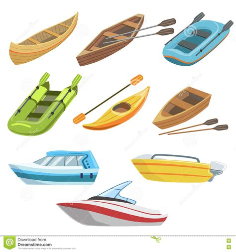 name all types of boats different types of boats colorful set stock vector