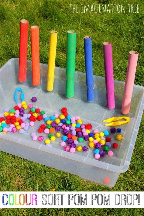 activities for preschoolers colour sorting pom pom drop drop