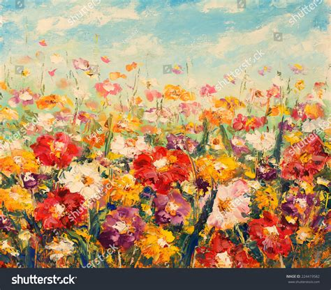 painting impressionism modern large original original painting flowersbeautiful field flowers stock
