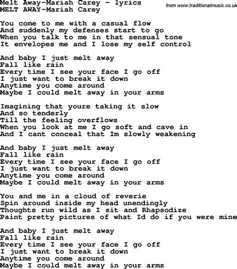 lyrics carey song lyrics for melt away carey