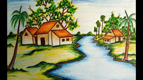 how to draw a boat in a river how to draw a river side village scenery step by step