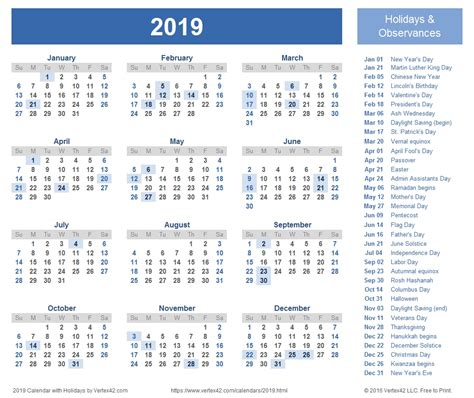 printable calendar for 2019 free printable 2019 calendar with holidays