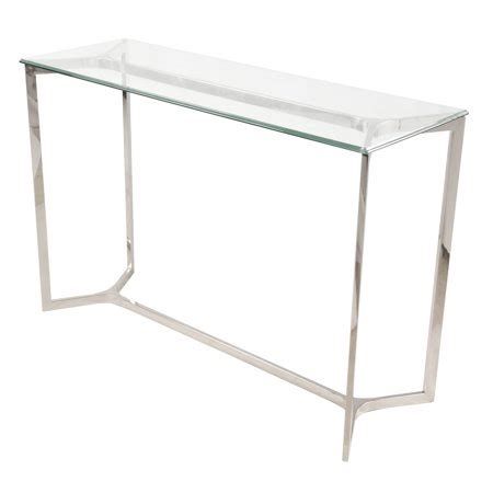 monza console table glass top stainless steel walmart