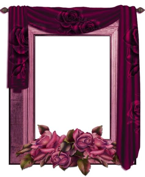 curtain frame transparent png frame with curtain and roses frames