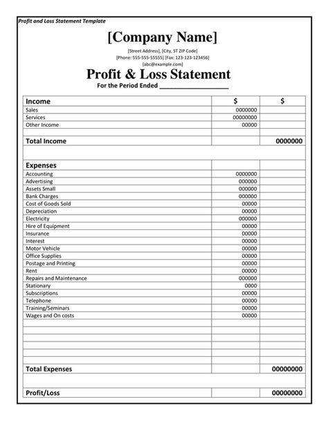media statement template profit and loss statement template doc pdf page 1 of 1