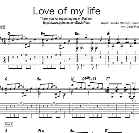 guitar fingerstyle tutorial pdf love of my life queen fingerstyle guitar arrangement