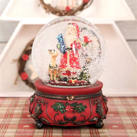 traditional musical santa christmas snow globe dome by red