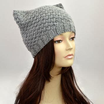 knit cat hat grey cat hat knit cat ear hat or cat from slouchybeanie