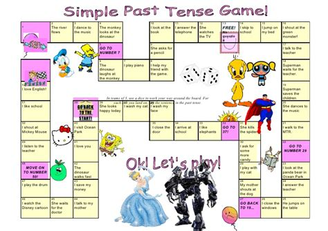 printable games for past tense tom s tefl past tense board game