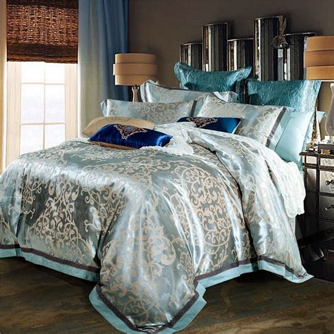 Silver And Gold Bedding Sets Luxury Jacquard Silk Bed Linen Blue Pink Silver Gold Satin Bedding Set Bedspread King