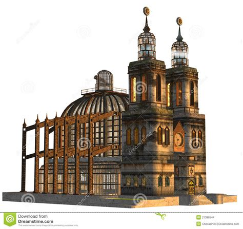 Steampunk cathedral stock illustration. Image of cathedral