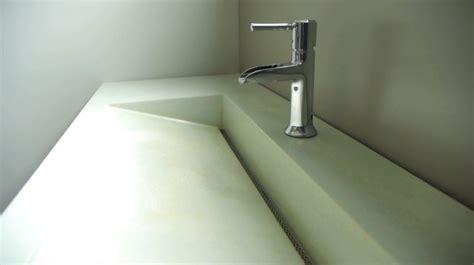 linear drain bathroom sink integral sustainable cast concrete slot drain sink