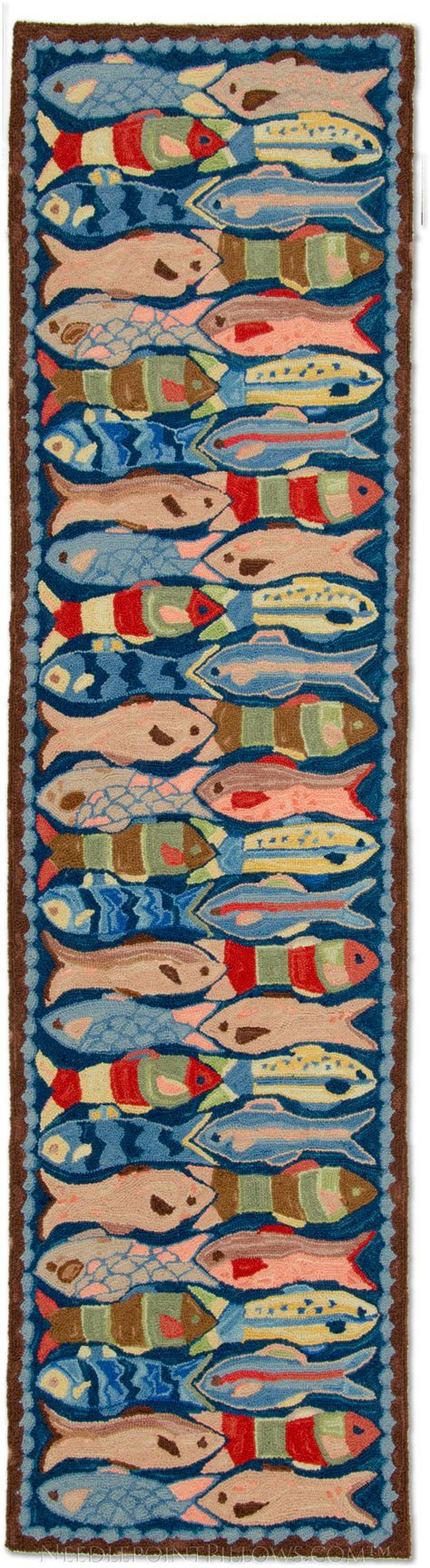 Nautical Runner Rug Handmade Nautical Fish Hooked Runner