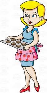 Housewife serving cookies vector clip art cartoon