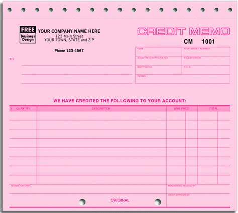 Credit Note Application Form Ans Business Forms Credit Memo Form 125