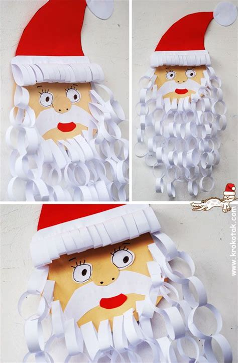 Crafts With Paper And Scissors - and easy santa craft for need only paper