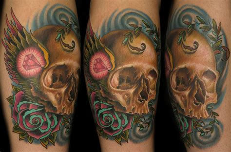 nate beavers tattoo realistic skull with traditional wings by nate beavers