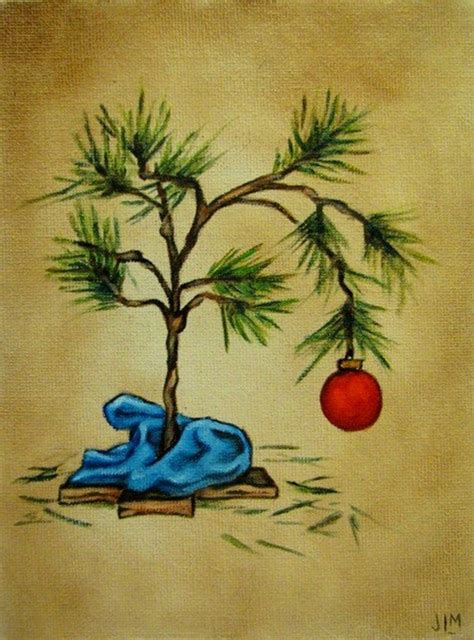 large charlie brown christmas tree brown style tree original painting