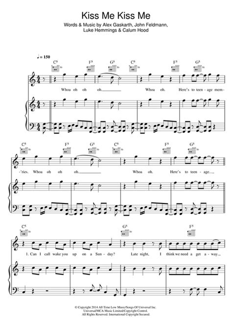 piano tutorial kiss me kiss me kiss me sheet music by 5 seconds of summer piano