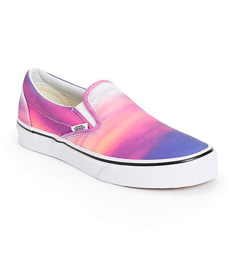 vans sunset purple slip on shoes womens at zumiez pdp