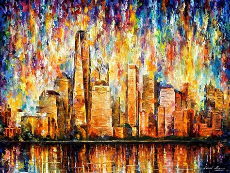 Painting In Nyc by New York Palette Knife Painting On Canvas By Leonid