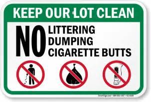 List Of Green Colors no littering dumping cigarette butts sign sku k2 0328