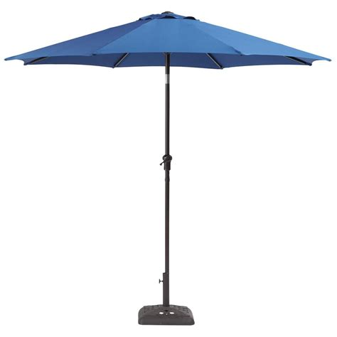 Crank And Tilt Patio Umbrella Hton Bay 9 Ft Steel Crank And Tilt Patio Umbrella In Sky Yjauc 171 Sky The Home Depot