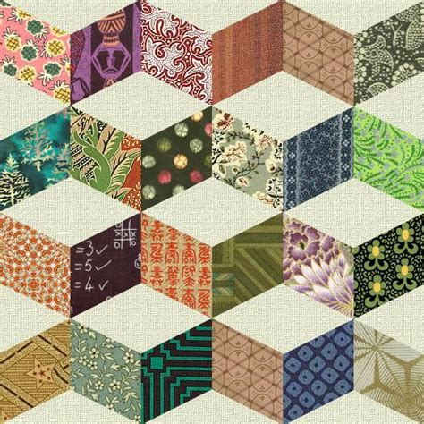 Patchwork Shapes - vintage quilt patterns shifting cubes necker s cube