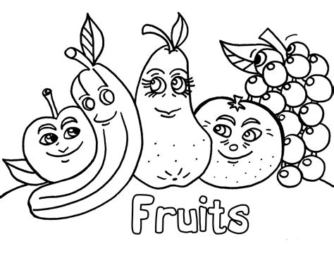 funny fruits coloring pages