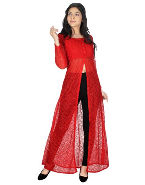 kurta pattern with net buy red net printed stitched kurti online