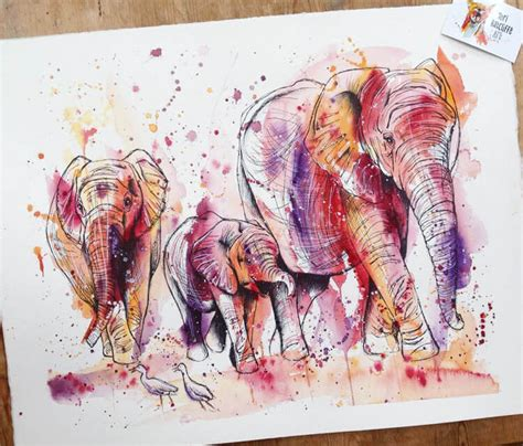 watercolor tattoo kitchener pink elephant by ratcliffe no 1633