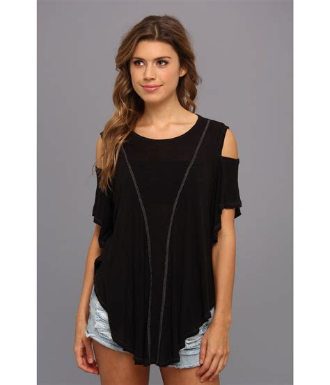 H M Draped Blouse Free People Cold Shoulder Seamed Top Shipped Free At Zappos