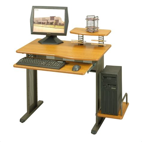 studio rta network metal wood top desk pewter computer