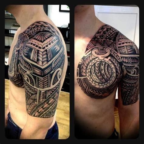 tribal tattoo chest piece polynesian half sleeve chest by sini manu at and