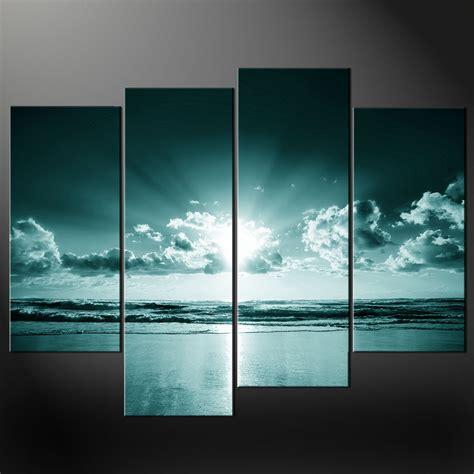 canvas prints blue sea sunset split canvas wall art pictures prints