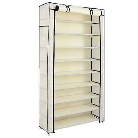 shoe storage rack organizer songmics 10 tiers shoe rack with cover closet shoe storage