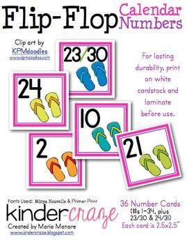 printable daily flip calendar download calendar numbers flip flops and calendar on pinterest