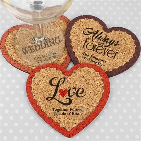 Wedding Favors Coasters by Personalized Cork Coaster Wedding Favors