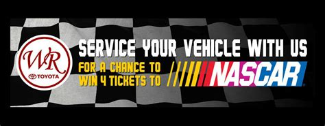 Nascar Giveaway - white river toyota service department nascar ticket giveaway
