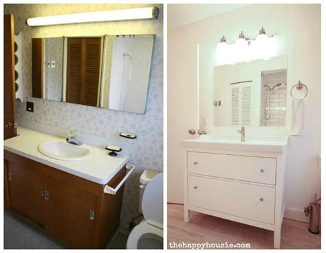 Vanity Bathroom Ikea Thrifty Bathroom Makeover With An Ikea Hemnes Vanity The Happy Housie