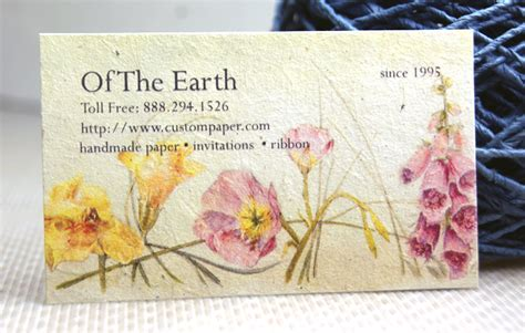 Handmade Card Company Names - business cards on handmade paper with flower seeds