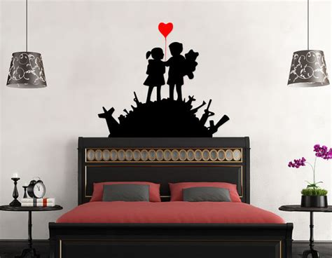 Wall Stiker Uk 60x90 Wall Sticker Sepasang Ranting Daun Hijau on guns from banksy on your wall it 180 s possible
