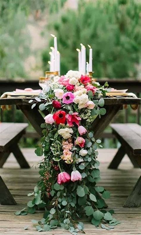 wedding reception table runners dramatically flower table runner for wedding reception