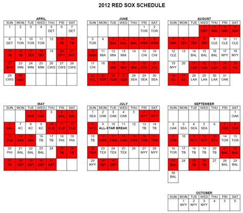sox printable schedule 2016 calendar template 2016