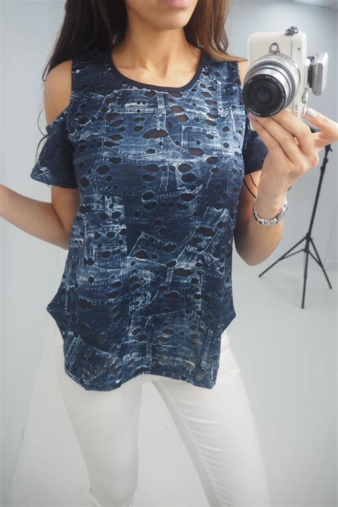 Saralee Blouse saralee denim cold shoulder distressed top bows boutiques